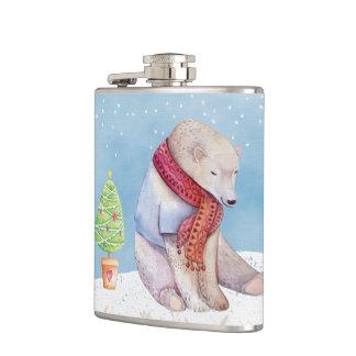 Cantil Urso polar e árvore de Natal na neve