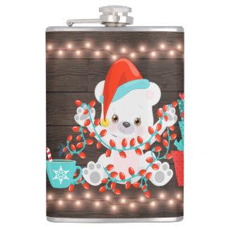 Cantil Urso polar pequeno bonito com luzes de Natal
