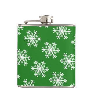 Cantil Verde e branco festivos do floco de neve