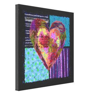 Canvas acolchoadas do coração impressão de canvas envolvida