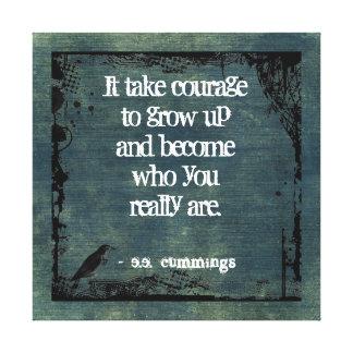 Canvas afligidas citações da parede da coragem