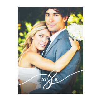 Canvas atadas da foto do casamento do monograma do