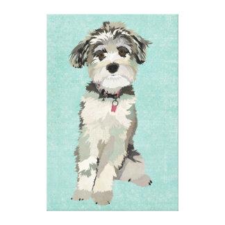 Canvas azuis do cão impressão em tela