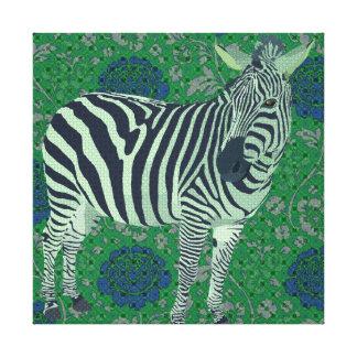 Canvas azuis & verdes do vintage da zebra de arte impressão de canvas esticada