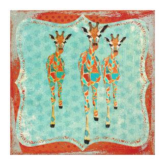 Canvas Azure & ambarinas do vintage dos girafas Impressão De Canvas Esticada