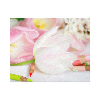 Canvas brancas cor-de-rosa do jjhelene da tulipa