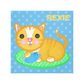 Canvas conhecidas feitas sob encomenda do gato do impressão de canvas envolvida