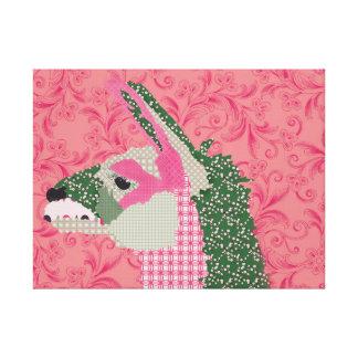 Canvas cor-de-rosa do lama impressão de canvas envolvidas