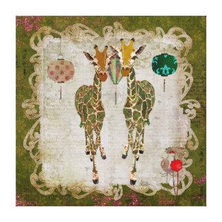 Canvas crepusculares verde-oliva dos girafas impressão em tela