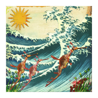 Canvas da água áspera dos dragões do mar impressão em tela