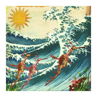 Canvas da água áspera dos dragões do mar impressão em tela canvas