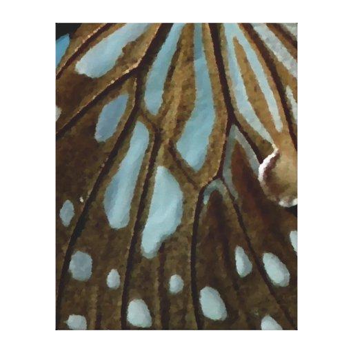 Canvas da arte da borboleta de Brown azul