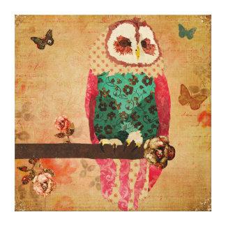 Canvas da coruja de Rosa do vintage Impressão Em Tela