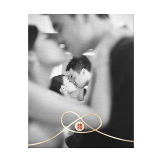 Canvas da foto do casamento da felicidade do dobro