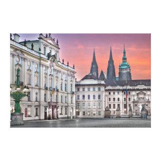 Canvas da manhã do quadrado do castelo de Praga