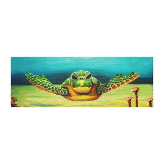 Canvas da tartaruga de mar da natação
