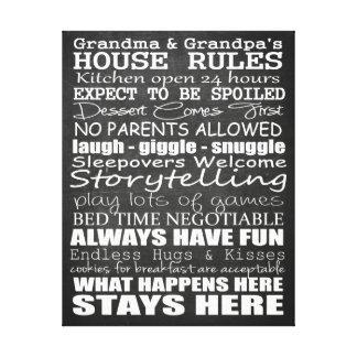 Canvas das regras 11x14 da casa da avó & do vovô impressão em tela