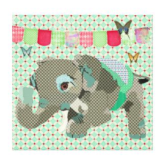 Canvas de arte afortunadas do elefante de Lil Impressão De Canvas Esticada