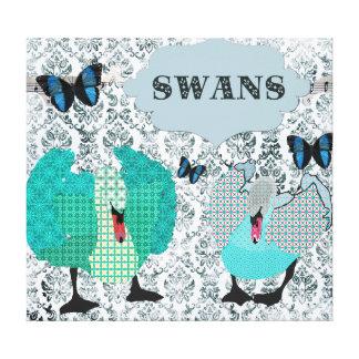 Canvas de arte azuis de Boho das cisnes Impressão De Canvas Envolvida