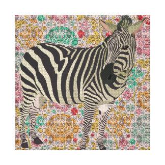 Canvas de arte da zebra da cintilação do vintage impressão de canvas esticada