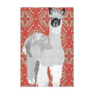 Canvas de arte vermelhas retros da alpaca impressão de canvas envolvida