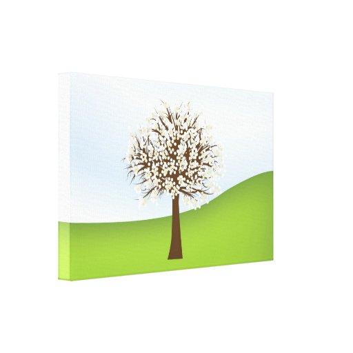 Canvas de florescência brancas da árvore impressão de canvas esticadas