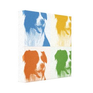 Canvas de pop art coloridas de border collie