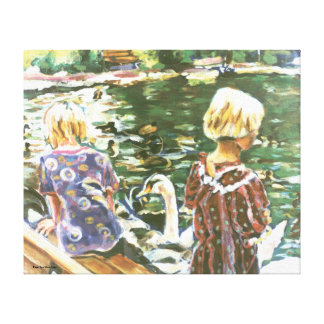 Canvas de visita das cisnes impressão de canvas envolvidas