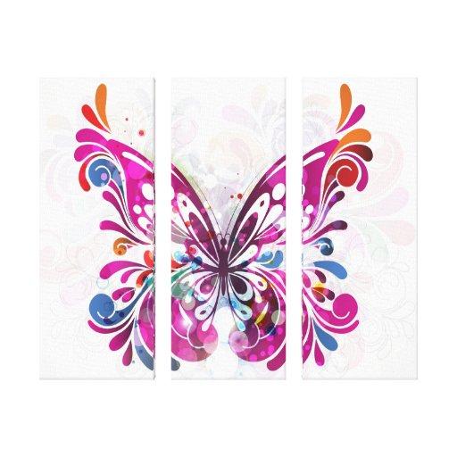Canvas decorativas da borboleta da jóia impressão de canvas envolvidas