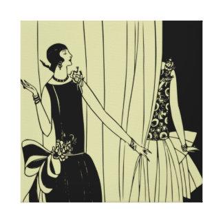 Canvas do art deco dos anos 20 rujir (celadon) impressão em tela