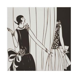 Canvas do art deco dos anos 20 rujir - sepia impressão em tela