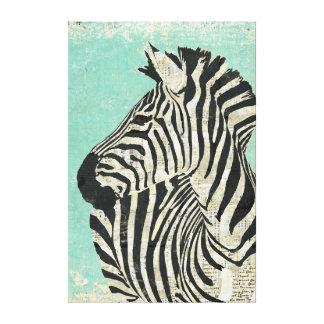 Canvas do azul da zebra do vintage impressão em tela