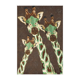 Canvas do damasco dos girafas da cerceta & do cobr impressão de canvas envolvidas