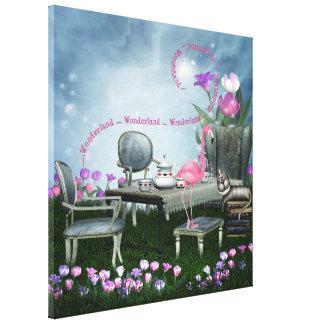 Canvas do flamingo do país das maravilhas & do gat impressão em tela