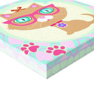 Canvas do gato da menina dos vidros do hipster impressão de canvas envolvida