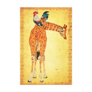 Canvas do girafa & do galo impressão em tela