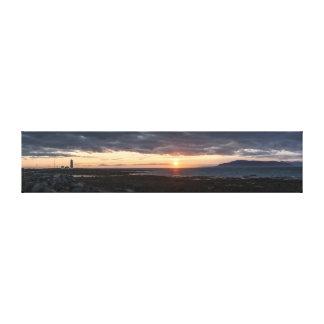 Canvas do por do sol do panorama de Islândia