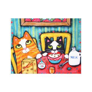 Canvas dos gatos do chá e do cereal impressão em canvas