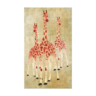 Canvas dos girafas da rosa vermelha do vintage impressão em canvas
