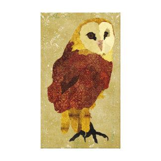 Canvas douradas da coruja do rubi impressão em tela