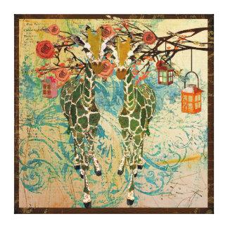 Canvas douradas do jardim de rosas dos girafas impressão de canvas esticadas