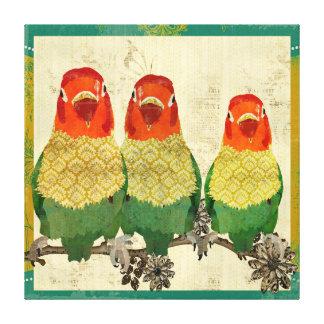 Canvas douradas do vintage dos pássaros do amor impressão em tela