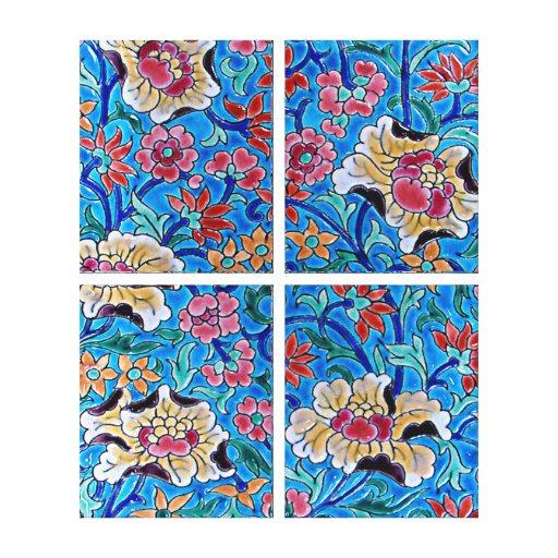 Canvas esmaltadas das flores - quadrilátero azul 2 impressão de canvas envolvida