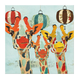 Canvas espreitando de três girafas impressão em tela