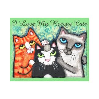 Canvas felizes de três gatos impressão em tela canvas
