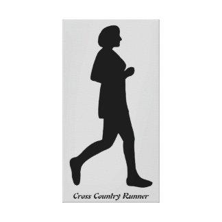 Canvas fêmeas da silhueta do corredor do país tran impressão em tela