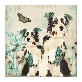Canvas florais dos cães do vintage impressão em tela
