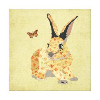 Canvas florais gastos do coelho impressão de canvas envolvida