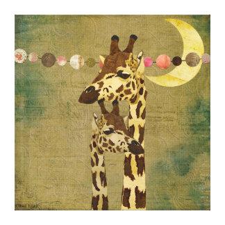 Canvas maternais do amor dos girafas de bronze dou impressão de canvas envolvidas
