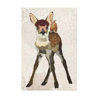 Canvas pequenas da jovem corça & da coruja impressão em tela